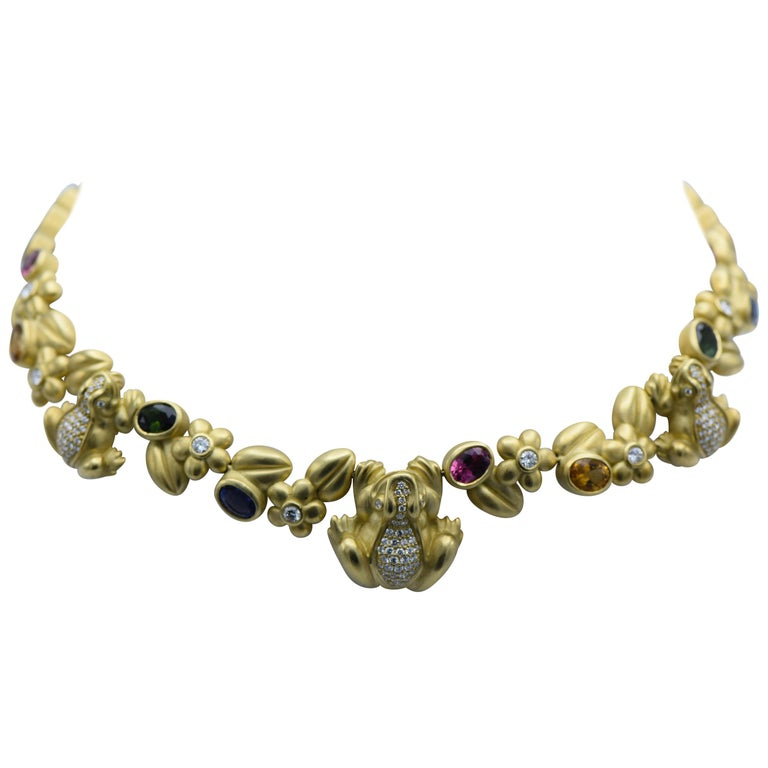 Gold, Diamond and Multicolored Stone Necklace, Kielselstein-Cord
