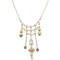 Chic Bohemian Gold Necklace with Fresh Water and Mabe Pearls and Diamond Cross