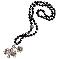 Clarissa Bronfman Black Onyx, Rosecut Diamond, Ruby, Silver, Emerald Necklace