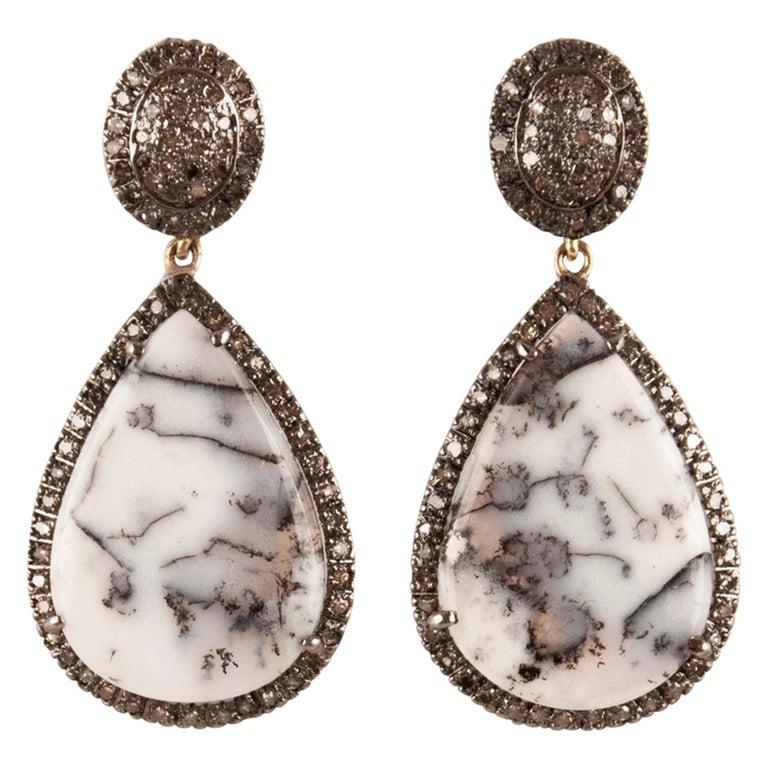 Moss Agate Diamond Drop Earrings