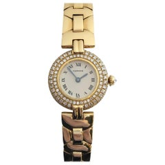 Cartier Women's Colisee 18 Karat Yellow Gold Diamond Case and Crown Watch