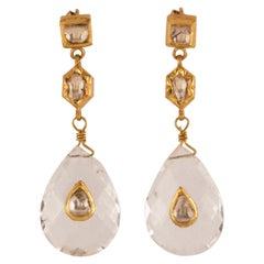 Crystal Gold Diamond Dangle Earrings