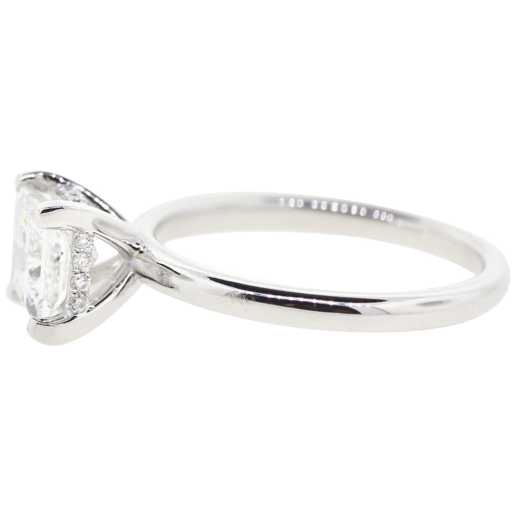 Hidden Halo Diamond Engagement Ring Princess Cut D Color GIA