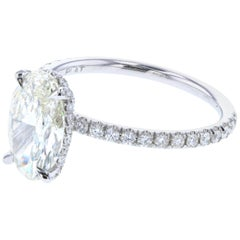 Hidden Halo Oval Diamond Engagement Ring GIA