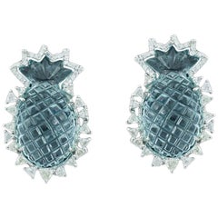Natural Carved Aquamarine and Diamond Earrings Studs Set in 18 Karat White Gold