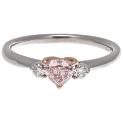 GIA 0.45 Carat Fancy Orangy Pink Heart Shaped Diamond Platinum Ring