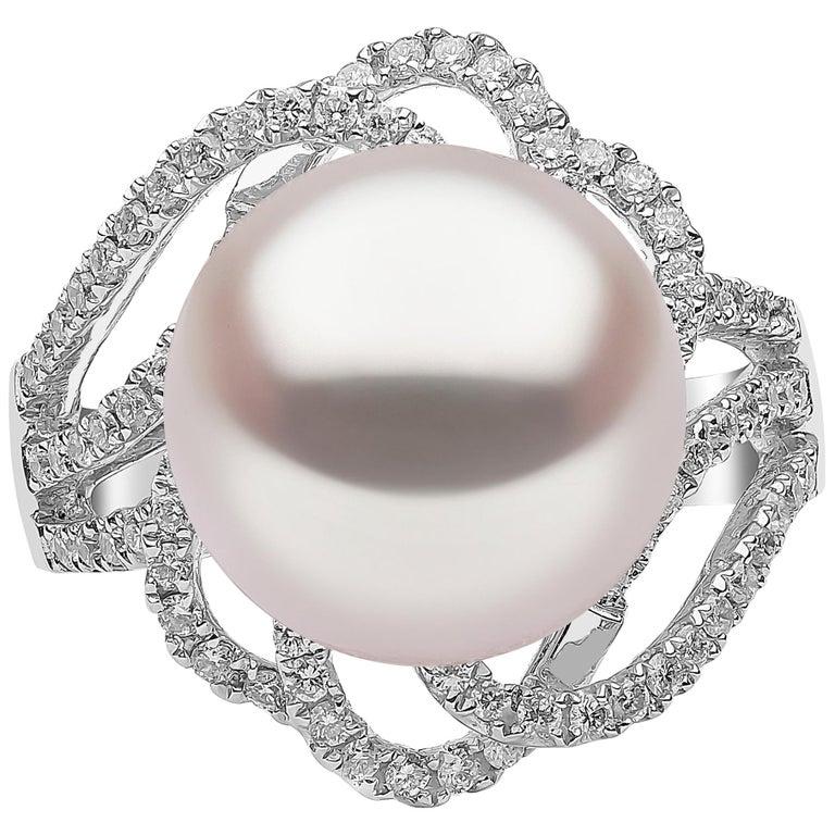 Yoko London South Sea Pearl and Diamond Ring Set in 18 Karat White Gold
