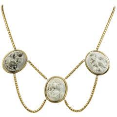 Antique Victorian Lava Cameo Necklace 18 Carat Gold Gilt, circa 1860