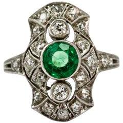 Platinum Art Deco Emerald and Diamond Panel Ring