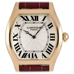Cartier Tortue XL Gents Rose Gold Silver Guilloche Dial Manual Wind Wristwatch