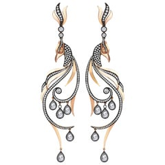 18 Karat Gold Monan Peacock 3.33 Carat Diamond Earrings
