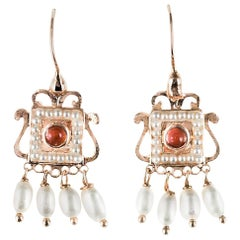 New Carnelian Pearl Renaissance Spirit Vermeil Drop Earrings