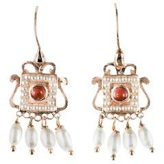 New Carnelian Pearl Renaissance Spirit Vermeil Drop Earrings