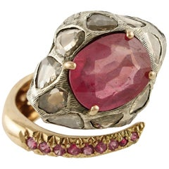 Diamonds Rubies Rose Gold and Silver Snake Ring