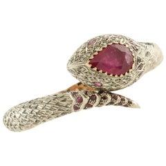 Diamonds Rubies Rose Gold and Silver Snake Bracelet
