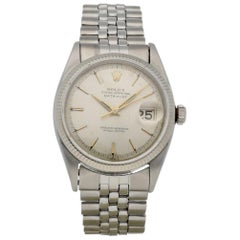 Certified Rolex Datejust 6605 with Band and Silver Dial