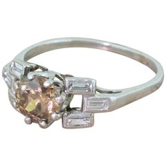Art Deco 1.10 Fancy Deep Brown Old European Cut Diamond Platinum Engagement Ring