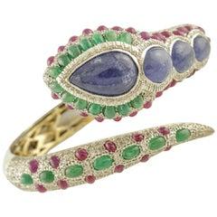Diamonds Emeralds Rubies Tanzanites White, Rose Gold and Silver Snake Bracelet