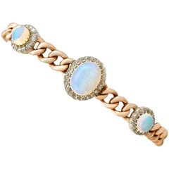 1880s Victorian 3.83 Carat Opal and 1.12 Carat Diamond Yellow Gold Bracelet