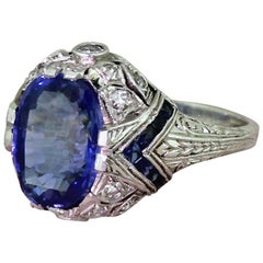 Art Deco 5.07 Carat Natural Ceylon Sapphire Platinum Solitaire Ring