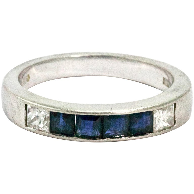 Sapphire and Diamond Platinum Men's Band Ring
