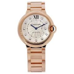 Certified Cartier Ballon Bleu 18 Karat Rose Gold Diamond Dial Watch WE902026
