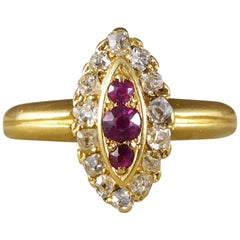 Antique Ruby and Diamond Marquise Ring Set in 18 Carat Gold