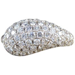 Diamond Domed Teardrop set Diamond 18 Carat White Gold Ring