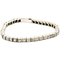 18 Carat White Gold Rose Cut Diamond Victorian Tennis Bracelet