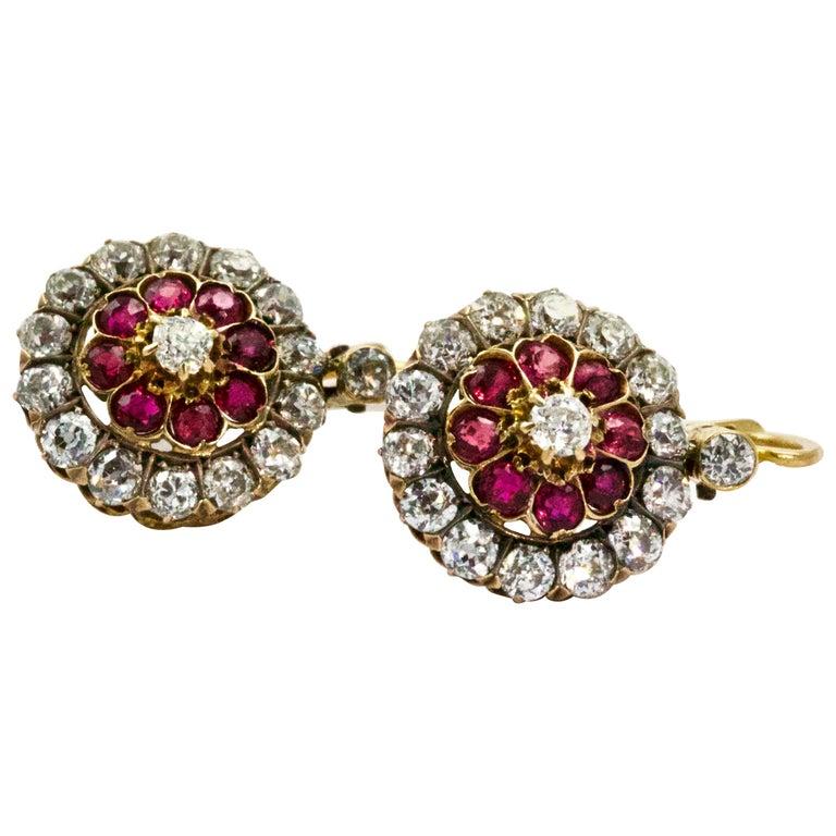 Victorian Ruby Diamond Flower Cluster Dangle Earrings