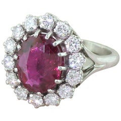 Late 20th Century 3.25 Carat Natural Ruby and Platinum Diamond Ring