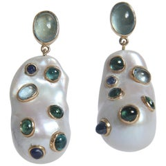 Baroque Pearls Earrings Set with Aquamarine, Sapphires, Green Tourmalines