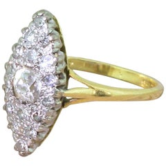 Midcentury 0.47 Carat Old Cut Diamond Navette Cluster Ring, circa 1950