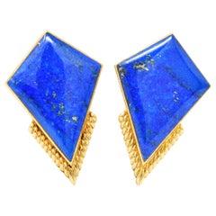 Ming's Contemporary Lapis Lazuli 14 Karat Gold Ear-Clips, Earrings