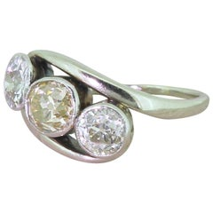 Art Deco 2.20 Carat Cognac and White Old Cut Diamond Trilogy Crossover Ring