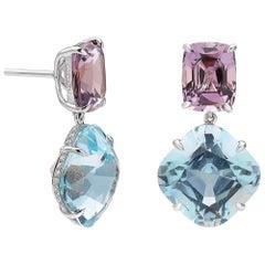 Aquamarine 13.03 Carat, Spinel 9.12 Carat and Diamond 0.35 Earrings