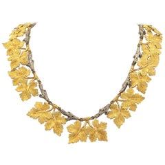 18 Karat Buccellati Necklace Grape Leaf Motif Yellow White Gold