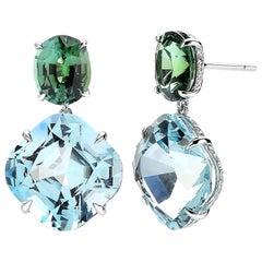 Aquamarine 25.97 Carat, Green Tourmaline 5.89 Carat & Diamond 0.67 Carat Earring