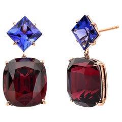 18 Karat Rose Gold Rhodolite Garnet and Tanzanite Earrings