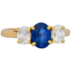1.55 Carat Sapphire Diamond 14 Karat Gold Alternative Engagement Ring