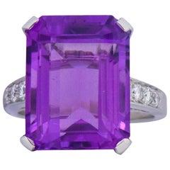 Contemporary 11.00 Carat Amethyst Diamond Platinum Cocktail Ring