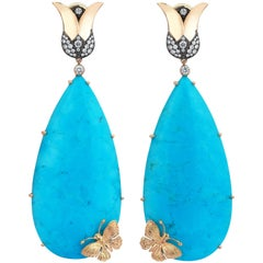 18 Karat Gold Monan 0.74 Carat Diamond and 93.20 Carat Turquoise Earrings