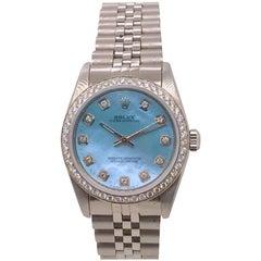 Midsize Rolex with Ice Blue Diamond Dial and Diamond Bezel, circa 2005