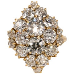 Antique Diamond Cluster Ring with Old Mine Cuts Approximate 6.48 Carat