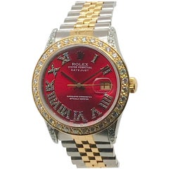 18kt/Stainless Rolex Datejust with Red Diamond Dial, Bezel, and Lugs circa 1985