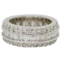 3.30 Carat Round Brilliant and Baguette White Diamond Wedding Eternity Band