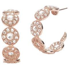 Coomi 20 Karat Rose Gold Eternity Diamond Hoop Earrings