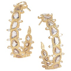 Coomi 20 Karat Gold Luminosity Diamond Hoop Earrings
