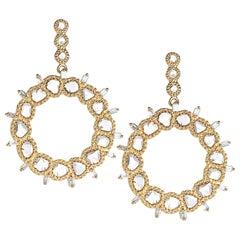 Coomi 20 Karat Gold Luminosity Diamond Front Hoop Earrings
