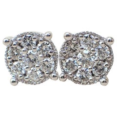 18 Karat White Gold Stud Earrings are Set with 0.68 Carat of Diamond